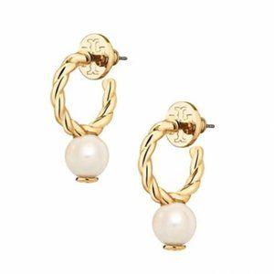 Tory Burch Pearl Half-Open Earrings